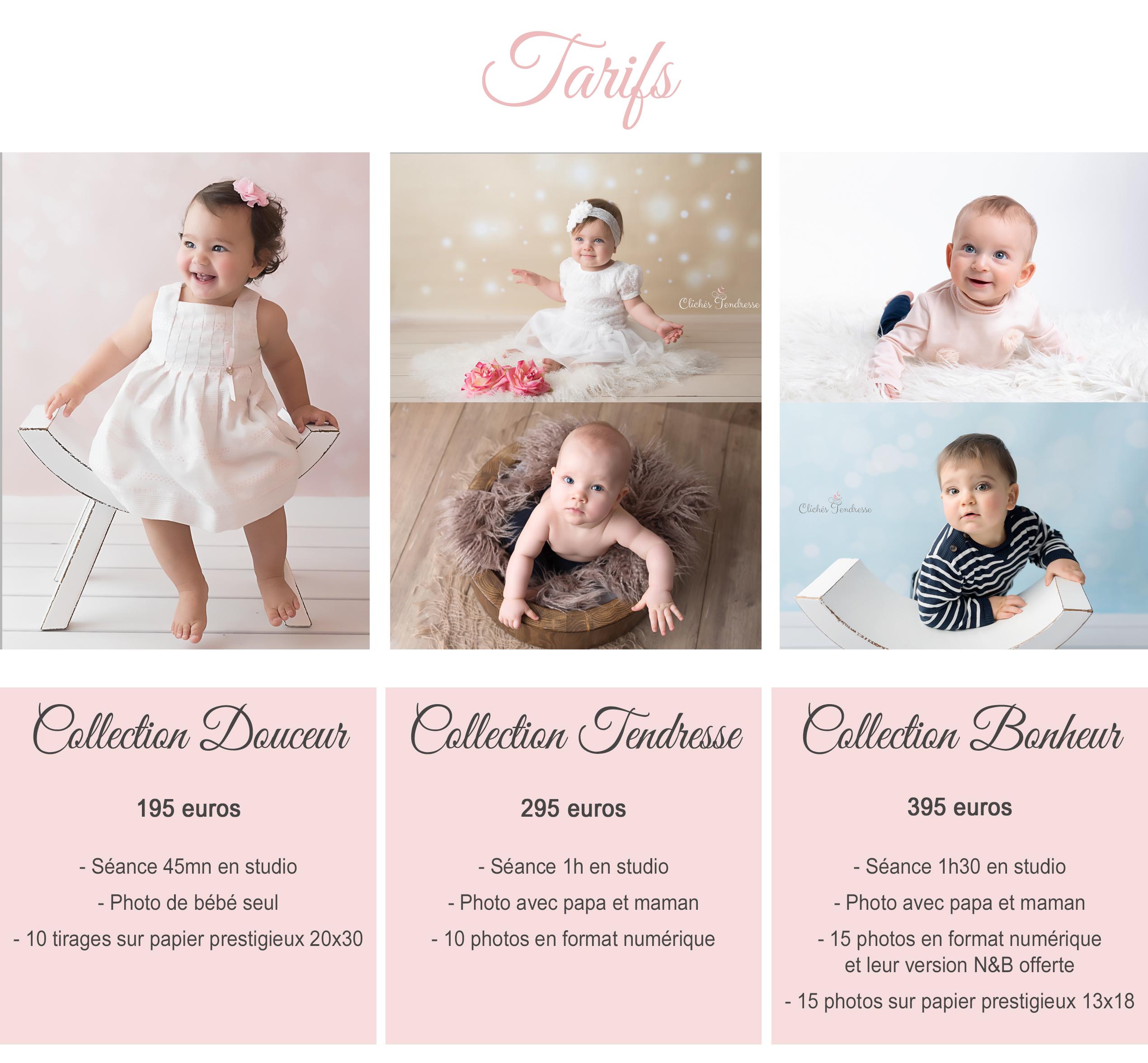 tarifs de votre photographe bébé en studio dans l'Ain (01), Pays de Gex, Haute-Savoie ou Suisse