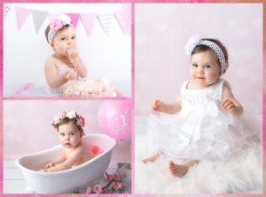 photographe professionnel pour des photos pour le 1er anniversaire de bébé dans un bain lors d'une séance smash the cake à collonges (01) près des Pays de Gex et de Haute savoie