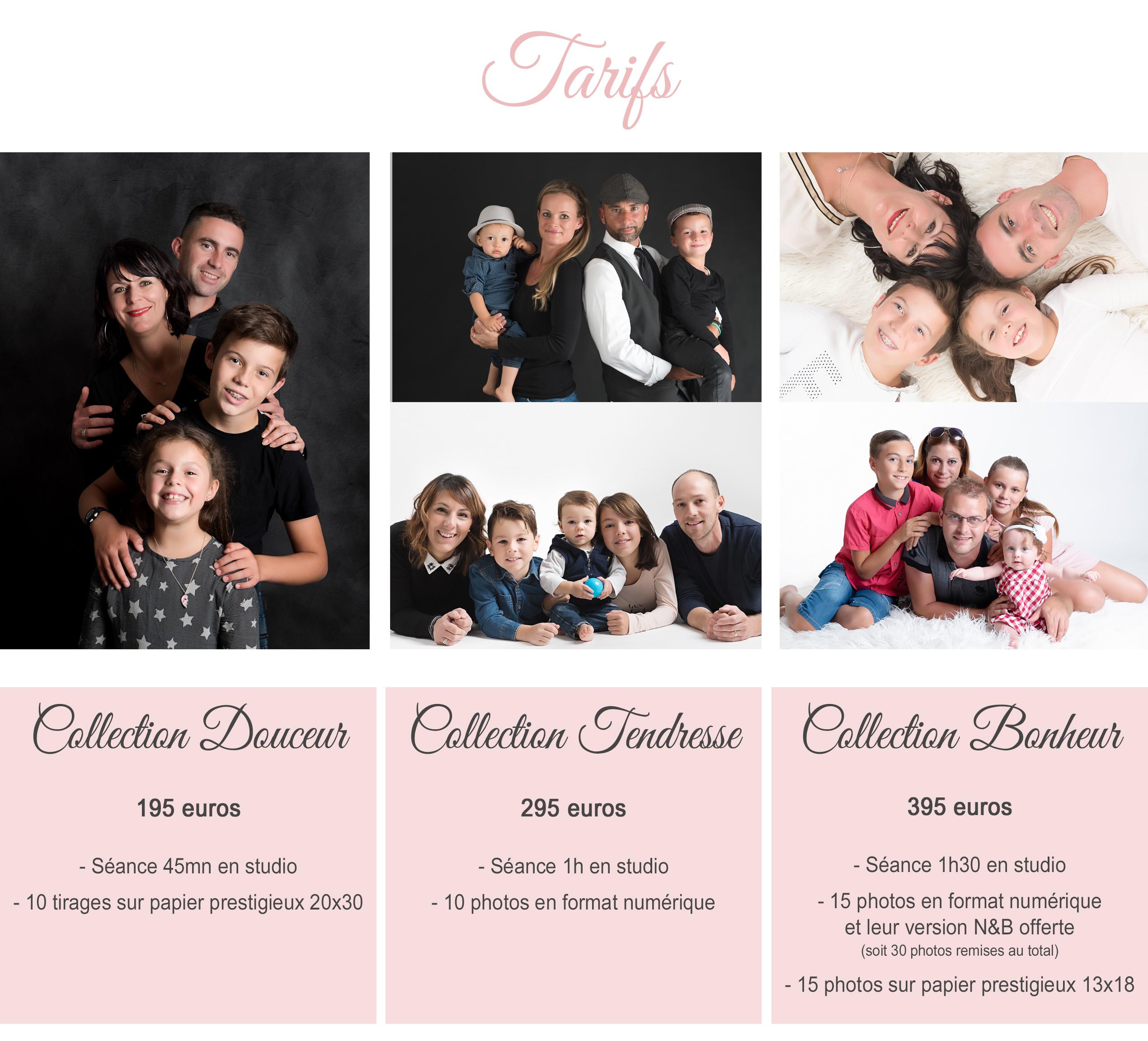tarifs de votre photographe des familles en studio à Pougny dans l'Ain (01), Pays de Gex, Haute-Savoie ou Suisse